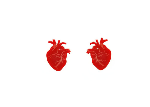Anatomical Heart Earrings in Red
