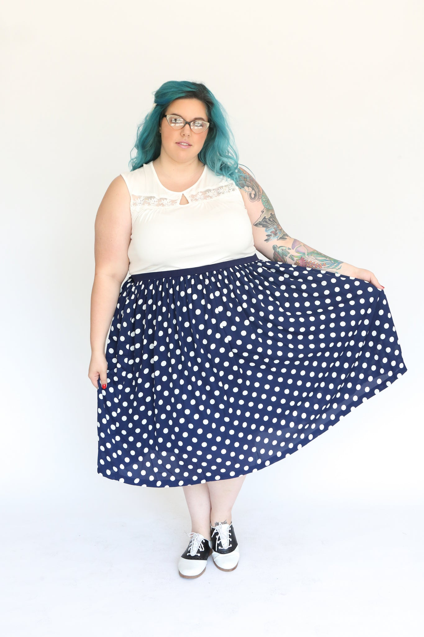 Makena Polka Dot Chiffon Skirt