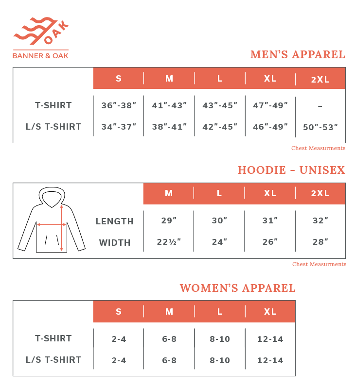 Sizing Chart for Shirts & Hoodies from Banner & Oak