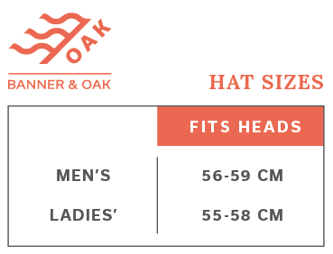 Sizing Chart for Banner & Oak Hats