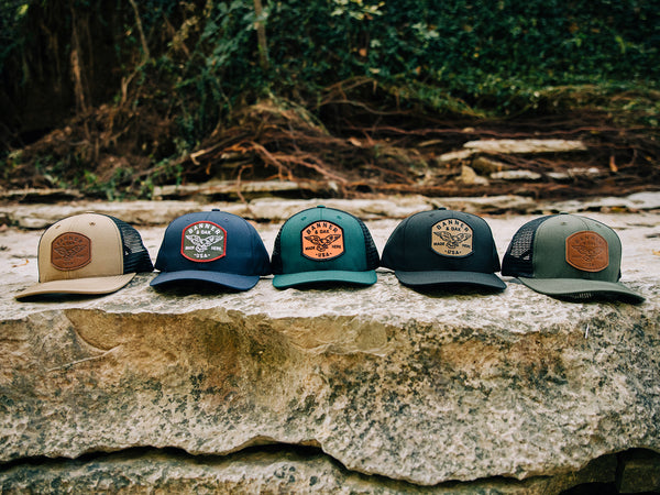 Eagle Family Collection - Fabric and Leather Patch Hats from Banner & Oak