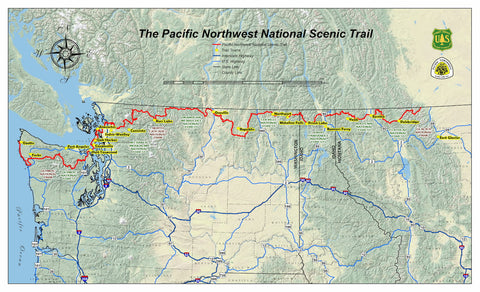 Map of The Pacific Northwest Trail.