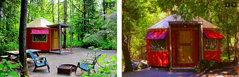 side by side images of yurts