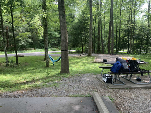 Campsite in wooded area with hammock hanging near the Great Smoky Mountains National Park.