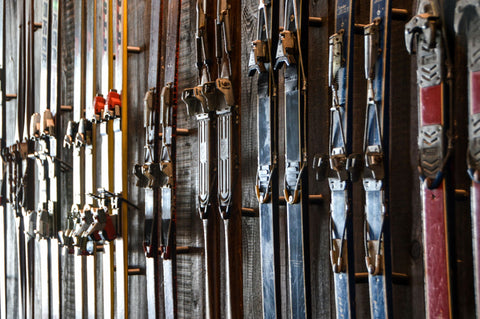 Vintage skis perfect for crafting into DIY hat racks.