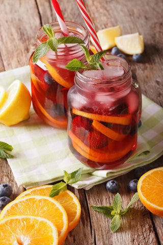 Sangria in mason jars, the perfect summer camp cocktail.
