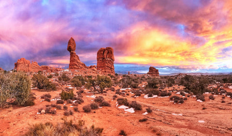 Sunset at Devil's Garden Campground in Arches National Park.