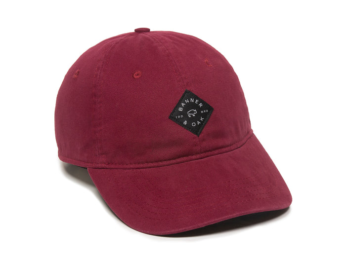 Trek Woven Label Patch Ladies Fit Cap Burgundy Front Left View