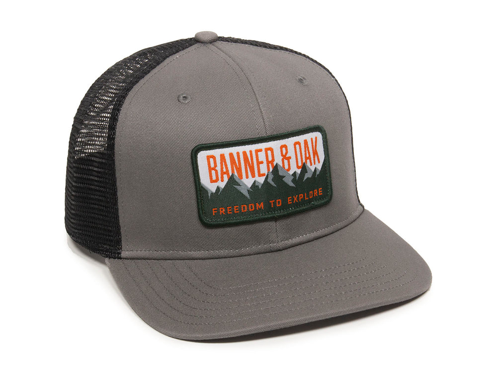 Bighorn Scout Patch Snapback Trucker Hat Charcoal Front Left View
