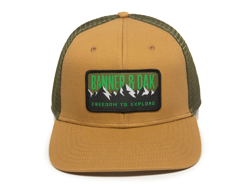 Bighorn Scout Patch Snapback Trucker Hat Khaki Front View