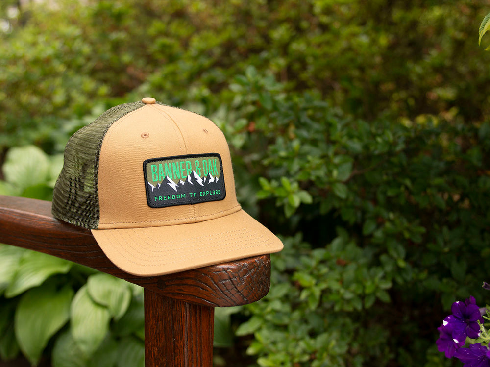 Bighorn Scout Patch Snapback Trucker Hat Khaki Lifestyle Image