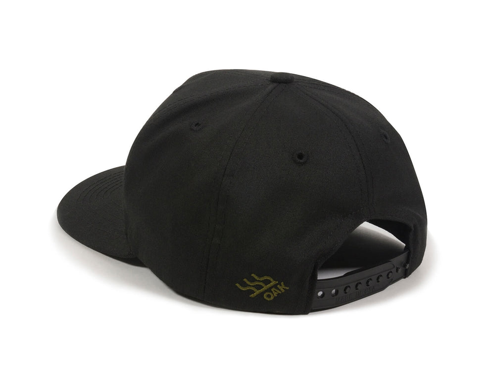 Bull Embroidered Snapback Cap Black