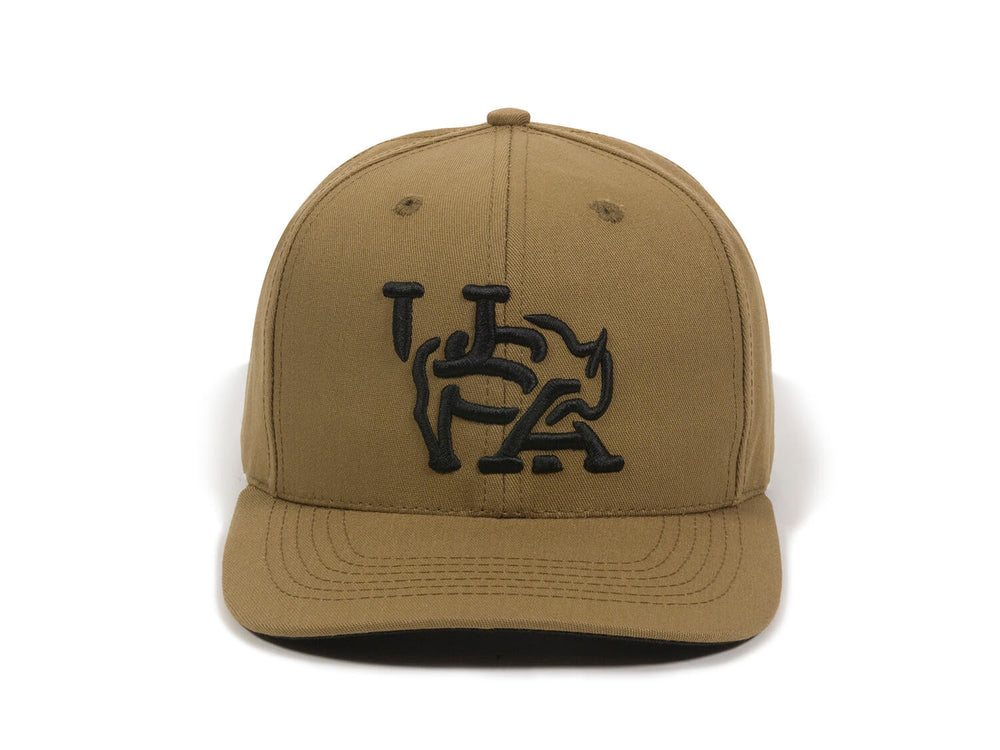 Bull USA Embroidered Snapback Cap Tan Front View