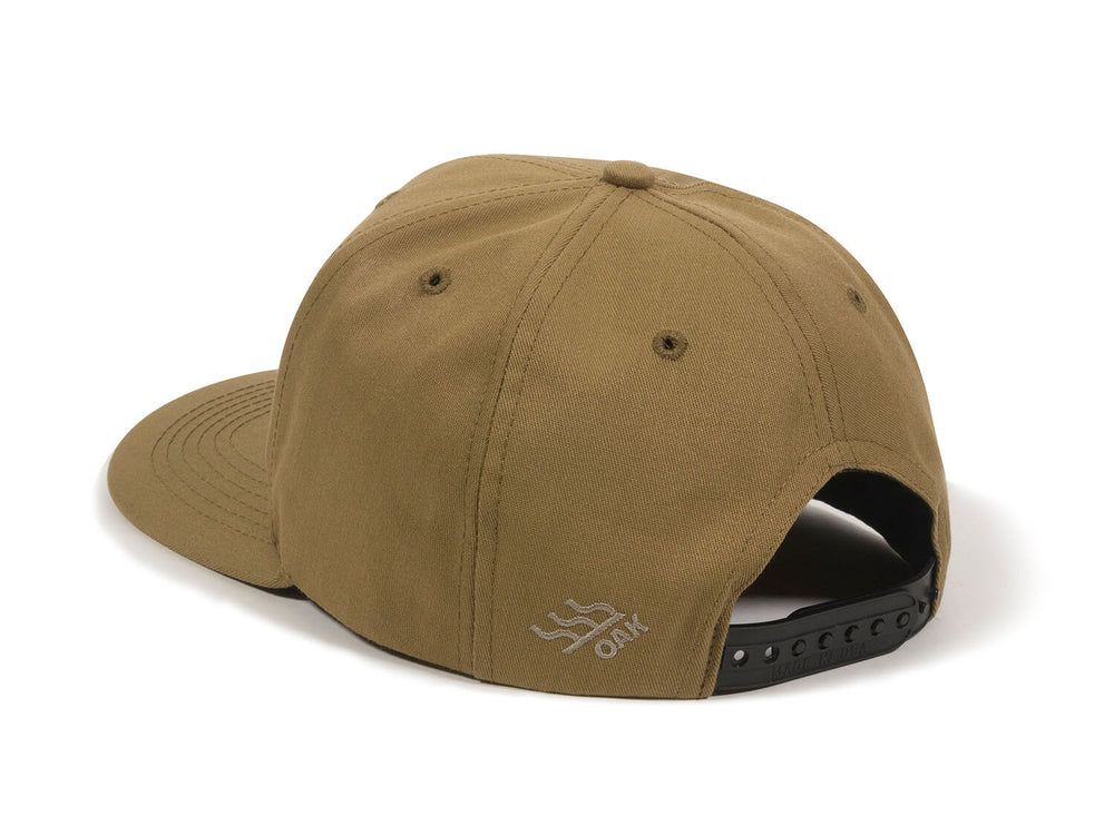 Bull USA Embroidered Snapback Cap Tan Logo Side Hit