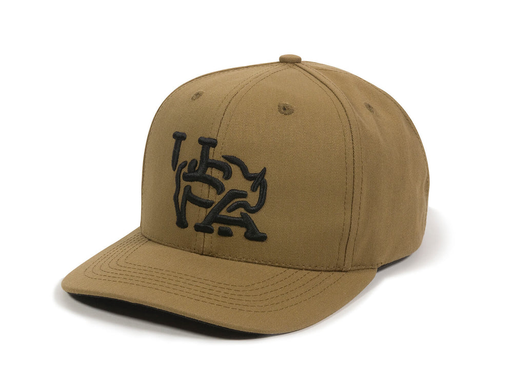 Bull USA Embroidered Snapback Cap Tan Right Front View