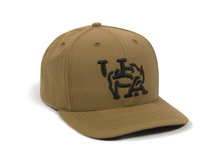 Bull USA Embroidered Snapback Cap Tan Left Front View