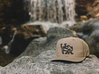 Bull USA Embroidered Snapback Cap Tan Lifestyle Image