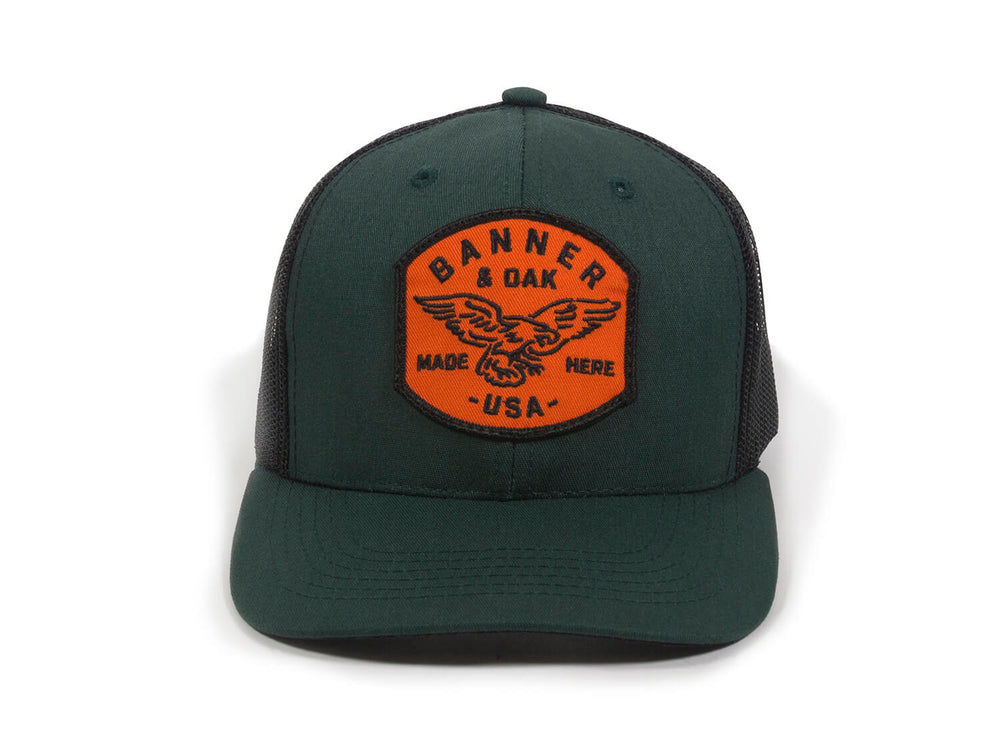Eagle Scout Patch Snapback Trucker Hat Spruce Green Front View