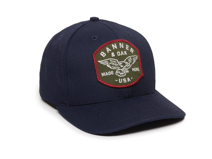 Eagle Scout Patch Snapback Cap Navy Blue Front Left View