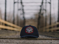 Eagle Scout Patch Snapback Cap Navy Blue Lifestyle Image