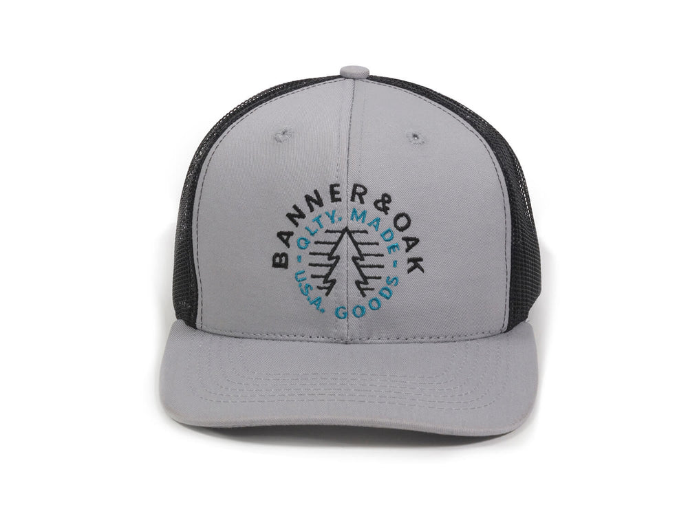 Evergreen Embroidered Snapback Trucker Hat Gray Front View