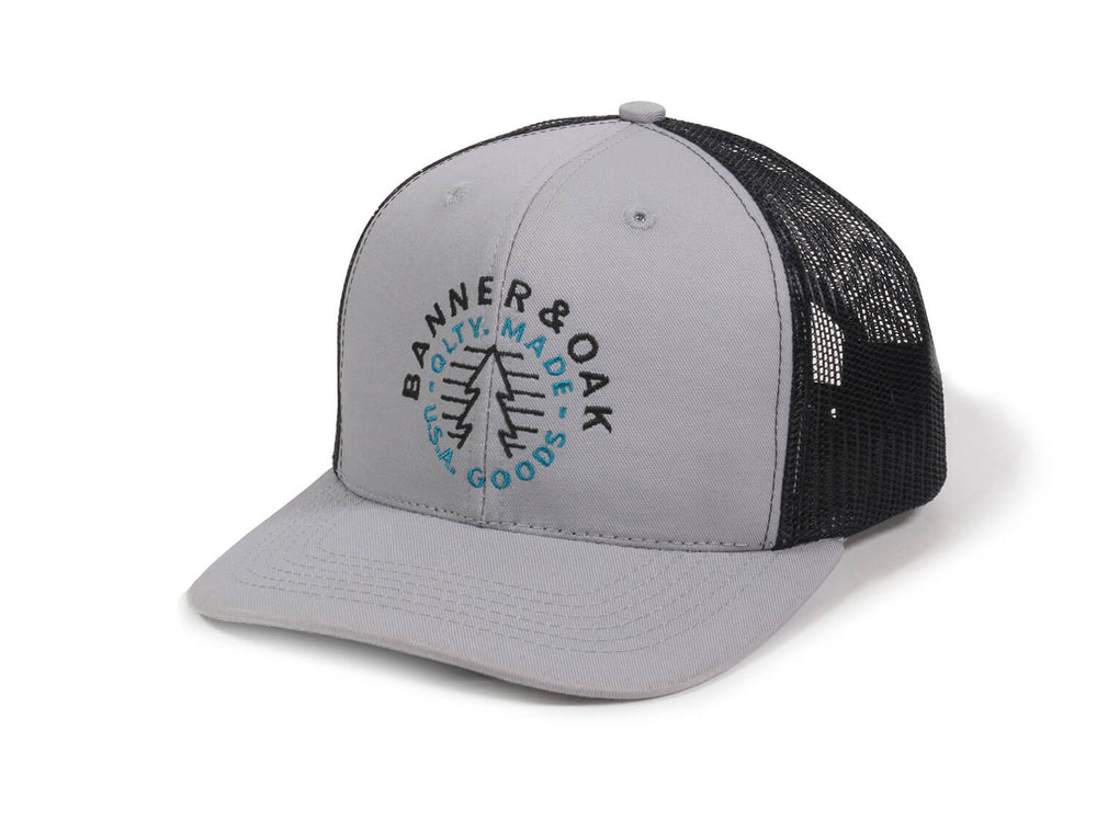 Evergreen Embroidered Snapback Trucker Hat Gray Front Right View