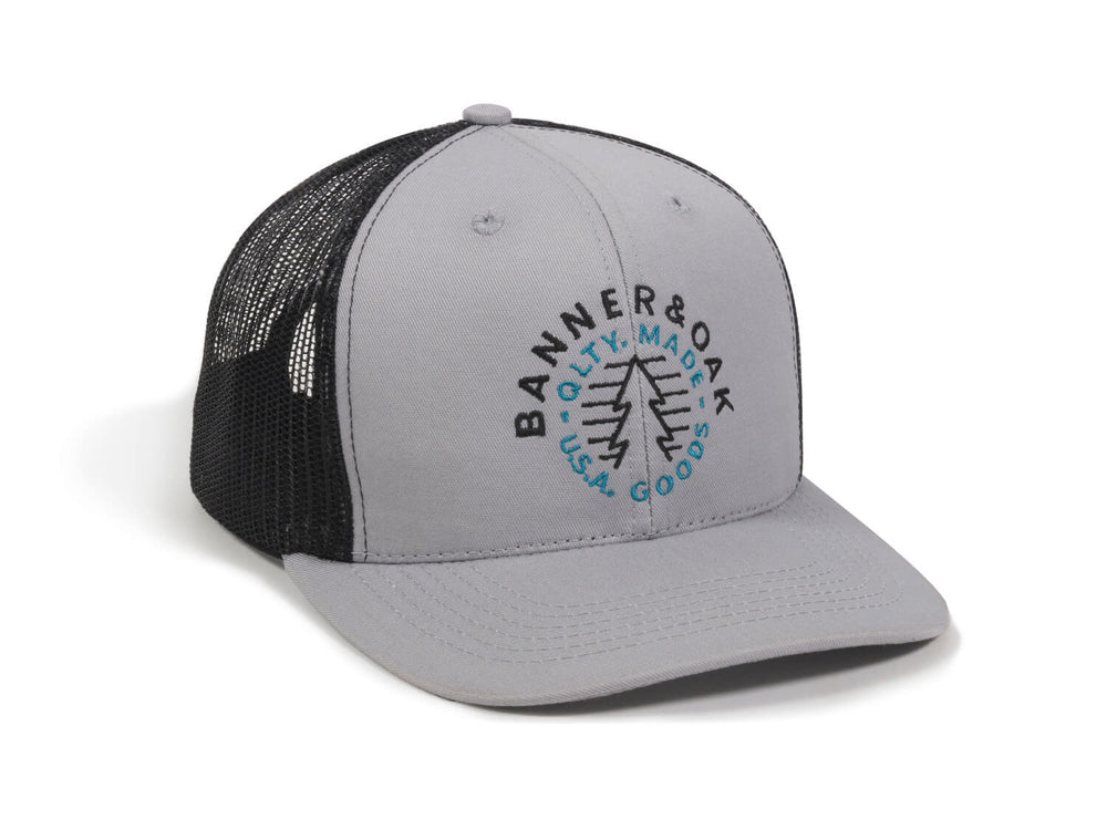 Evergreen Embroidered Snapback Trucker Hat Gray Front Left View