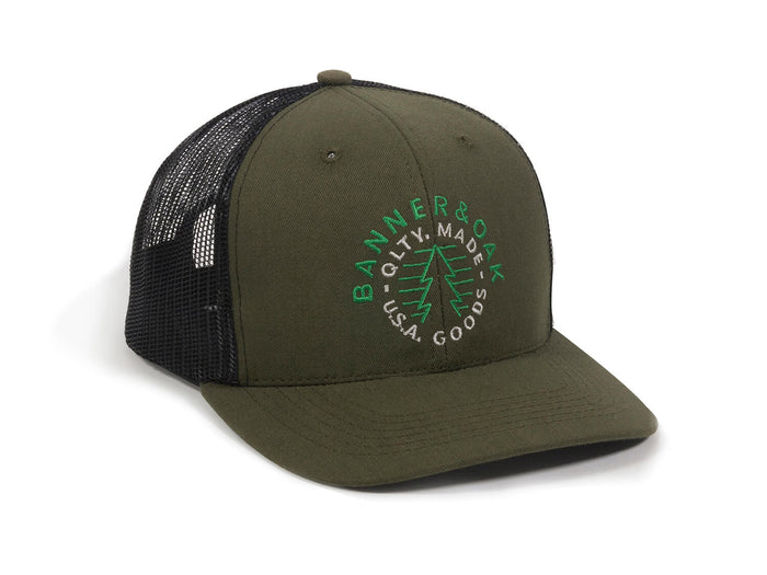 Evergreen Embroidered Snapback Trucker Hat Olive Green Front Left View
