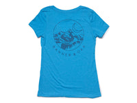Crescent V-Neck Women's T-Shirt Turquoise Blue Back View