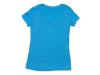 Crescent V-Neck Women's T-Shirt Turquoise Blue Front View