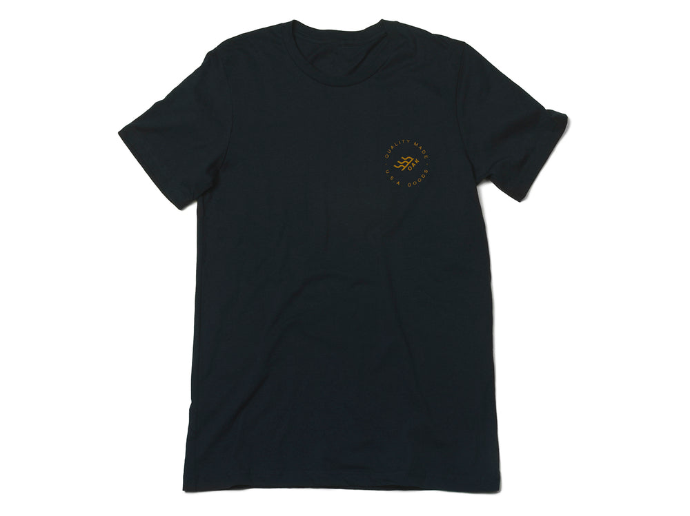 Grit Crewneck T-Shirt Navy Blue Front View