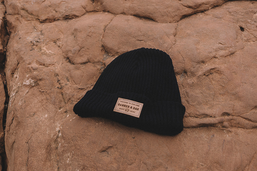 Summit Leather Patch Knit Beanie Cap Black Lifestyle Image
