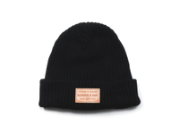 Summit Leather Patch Knit Beanie Cap Black Front View