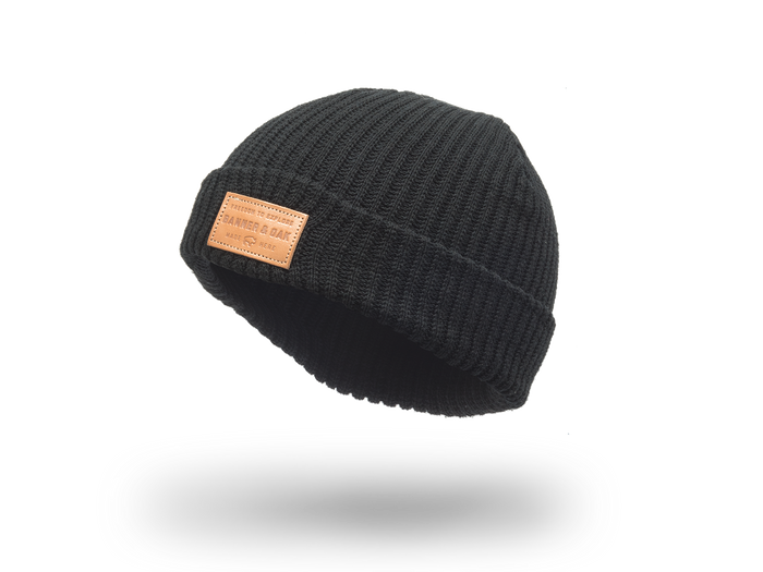 Summit Leather Patch Knit Beanie Cap Black Side View