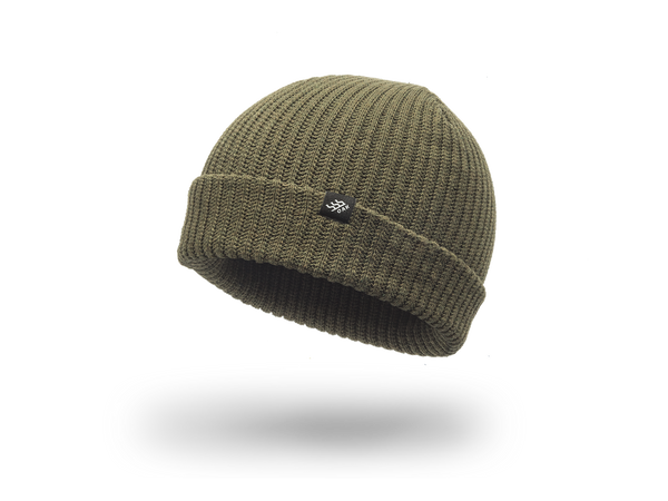 Range Knit Beanie Cap Olive Green Cuff Side View