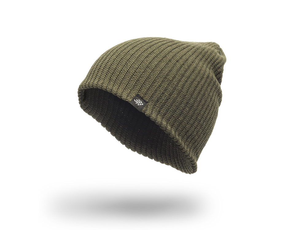 Range Knit Beanie Cap Olive Green No Cuff Side View