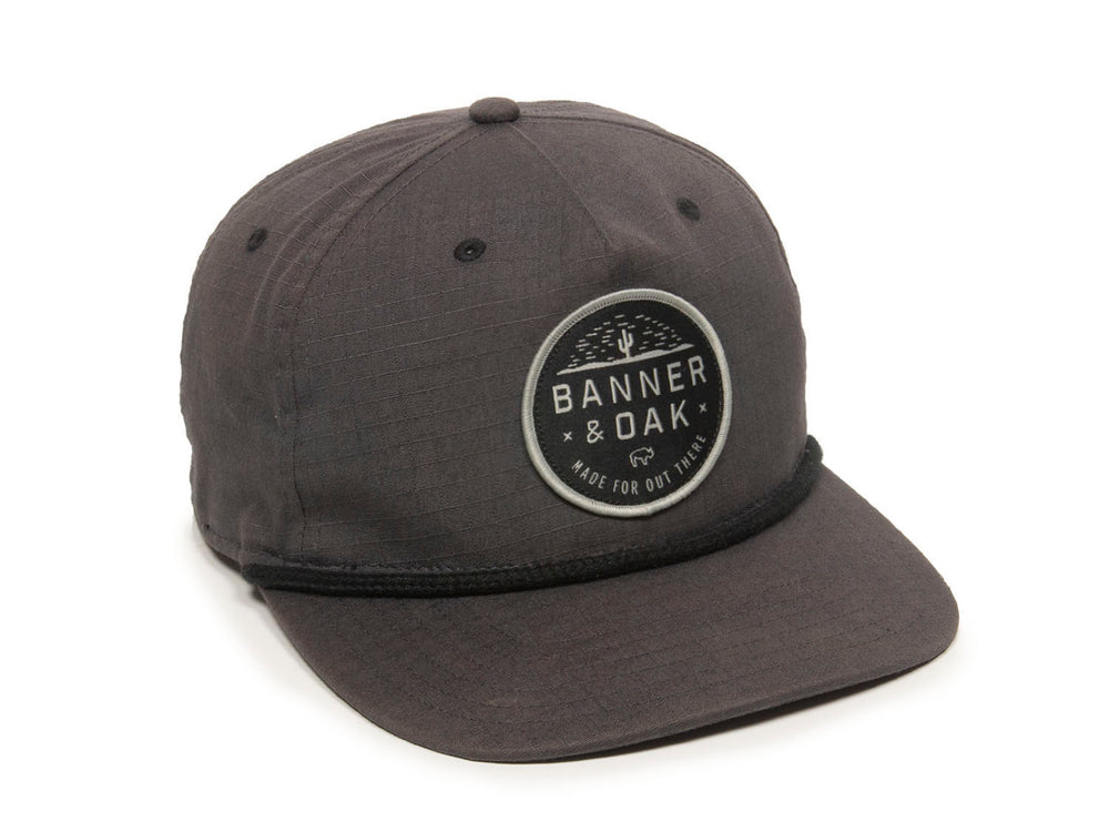 Mojave Scout Patch Snapback Cap Charcoal Front Left View