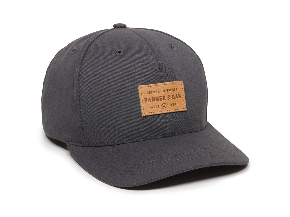 Pike Leather Patch Snapback Cap Charcoal Front Left View