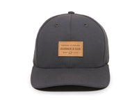 Pike Leather Patch Snapback Cap Charcoal Front View