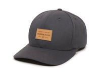 Pike Leather Patch Snapback Cap Charcoal Front Right View