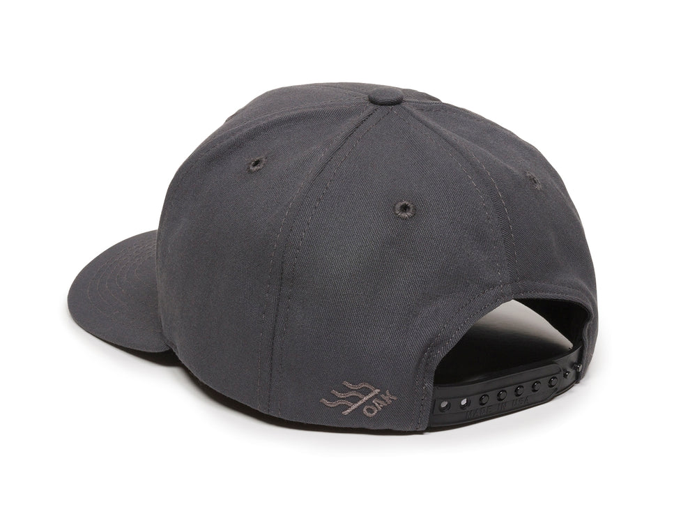 Pike Leather Patch Snapback Cap Charcoal Logo Side Hit
