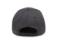 Pike Leather Patch Snapback Cap Charcoal Back View