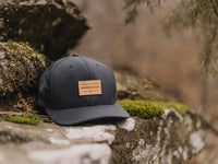 Pike Leather Patch Snapback Cap Charcoal Lifestyle Image