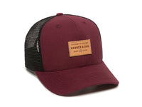 Pike Leather Patch Snapback Trucker Hat Maroon Front Left View