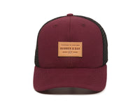 Pike Leather Patch Snapback Trucker Hat Maroon Front View