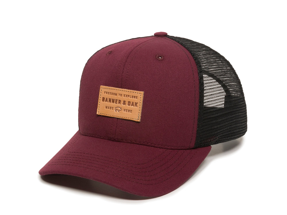 Pike Leather Patch Snapback Trucker Hat Maroon Front Right View