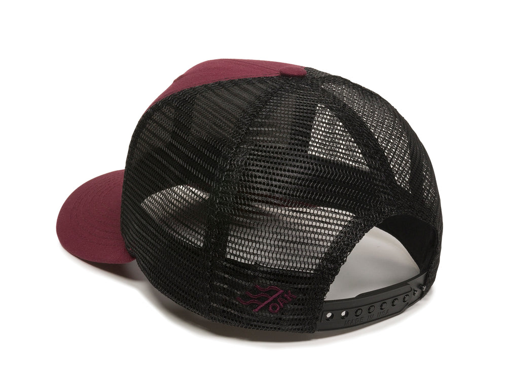 Pike Leather Patch Snapback Trucker Hat Maroon Logo Side Hit