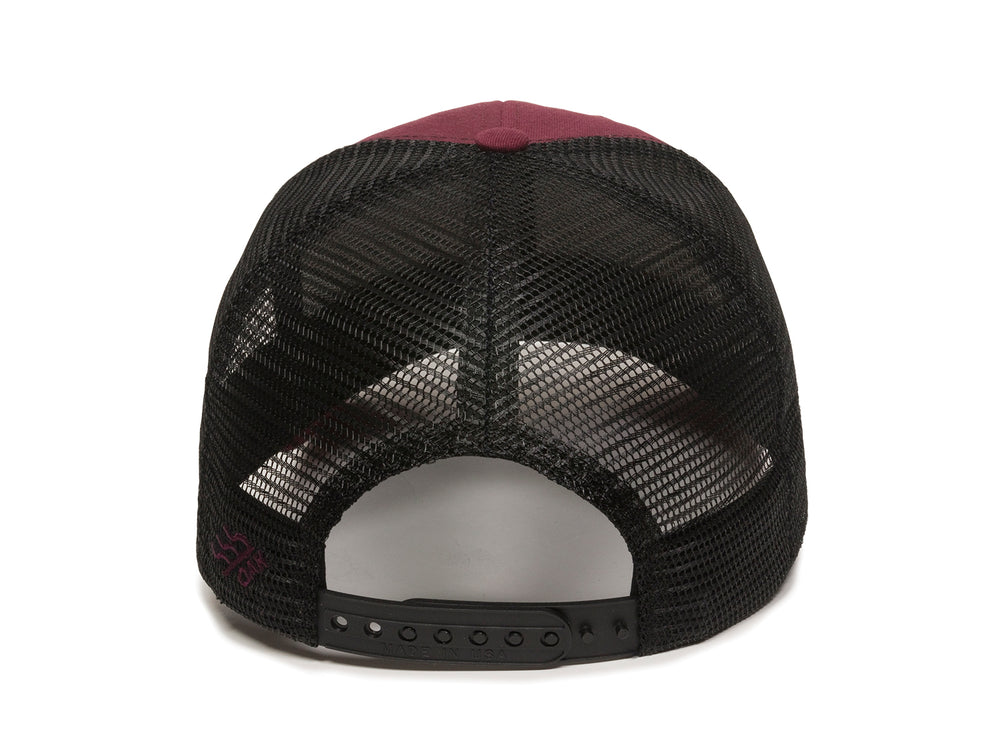 Pike Leather Patch Snapback Trucker Hat Maroon Back View