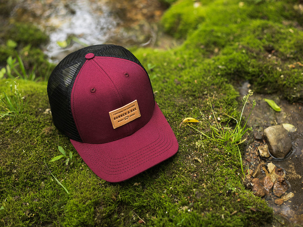 Pike Leather Patch Snapback Trucker Hat Maroon Lifestyle View