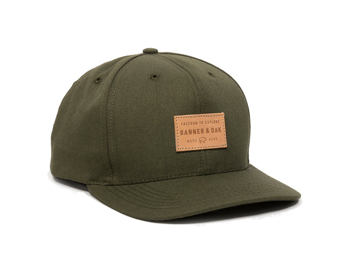 Pike Leather Patch Snapback Cap Olive Green Front Left View